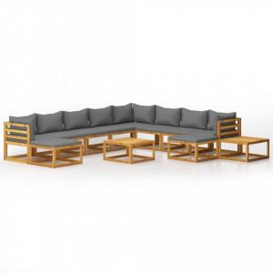 Set mobilier de grădină cu perne, 12 piese, lemn masiv acacia