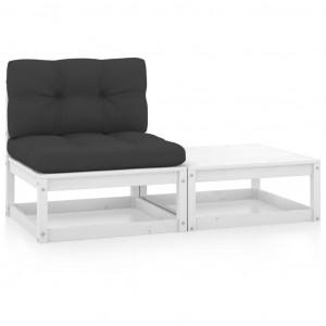Set mobilier de grădină cu perne, 2 piese, alb, lemn masiv pin
