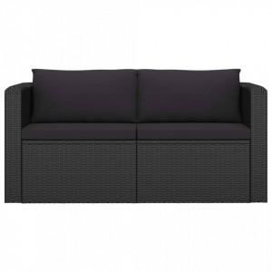 Set mobilier de grădină cu perne, 2 piese, negru, poliratan