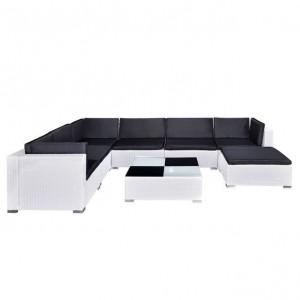 Set mobilier de grădină cu perne, 8 piese, alb, poliratan
