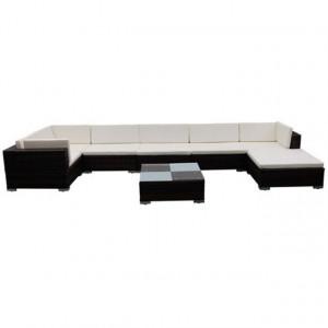 Set mobilier de grădină cu perne, 8 piese, maro, poliratan