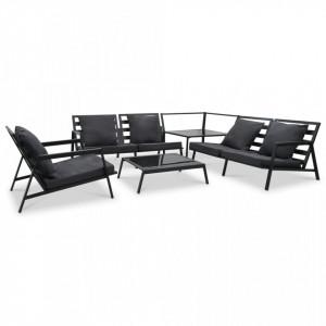Set mobilier grădină cu perne 5 piese gri închis aluminiu
