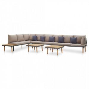Set mobilier grădină cu perne, 7 piese, lemn masiv de acacia