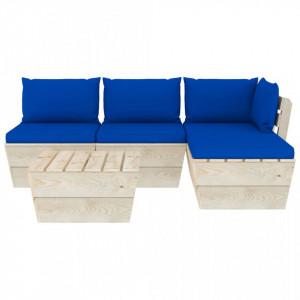 Set mobilier grădină din paleți cu perne, 5 piese, lemn molid