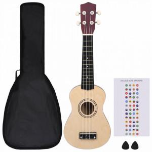 """Set ukulele soprano, cu husă, pentru copii, lemn deschis, 21"""""""