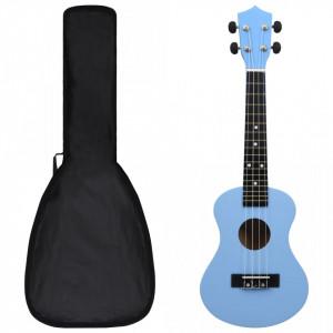 """Set ukulele Soprano pentru copii, cu husă, bleu, 23"""""""