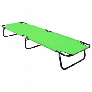Șezlong de plajă pliabil, verde, oțel