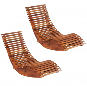Șezlonguri balansoar de plajă, 2 buc., lemn masiv de acacia