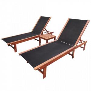 Șezlonguri de plajă cu masă 2 buc. lemn masiv acacia textilenă