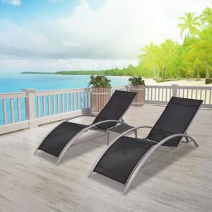 Șezlonguri de plajă cu masă, negru, aluminiu