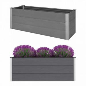 Strat înălțat de grădină, gri, 150 x 50 x 54 cm, WPC