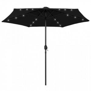 Umbrelă de soare cu LED și stâlp aluminiu, negru, 270 cm
