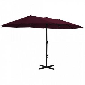 Umbrelă soare exterior, stâlp aluminiu, roșu bordo, 460x270 cm
