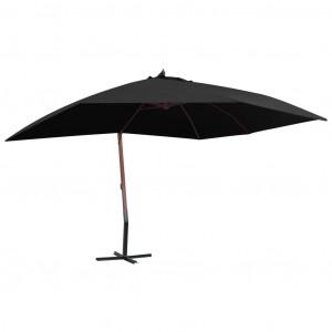Umbrelă suspendată cu stâlp din lemn, negru, 400 x 300 cm
