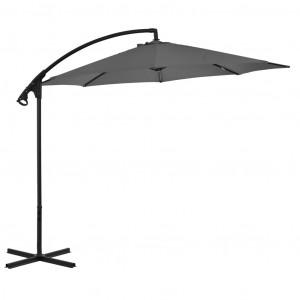 Umbrelă suspendată cu stâlp din oțel, antracit, 300 cm