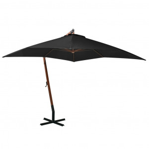 Umbrelă suspendată cu stâlp, negru, 3x3 m, lemn masiv de brad