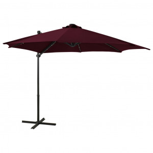 Umbrelă suspendată cu stâlp și LED-uri, roșu bordo, 300 cm