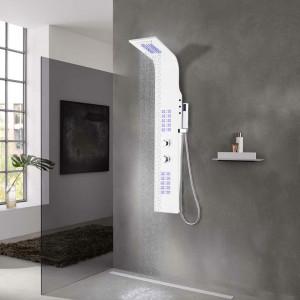 Unitate panou de duș, aluminiu, 20 x 44 x 130 cm, alb