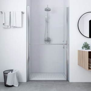 Ușă de duș, negru, 81 x 195 cm, sticlă securizată