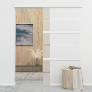 Ușă glisantă, argintiu,102,5 x 205 cm, sticlă ESG și aluminiu