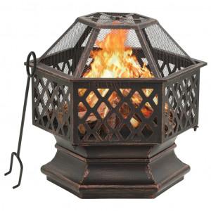 Vatră de foc rustică, cu vătrai 62x54x56 cm oțel, XXL