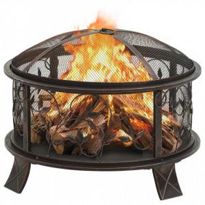 Vatră de foc rustică, cu vătrai, 67,5 cm, oțel, XXL