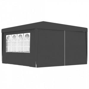 Cort petrecere profesional pereți laterali antracit 4x4m 90g/m²