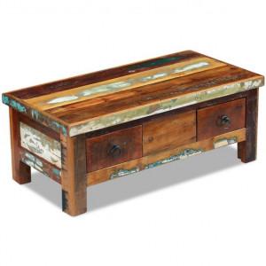 Masă de cafea cu sertare, lemn solid reciclat, 90 x 45 x 35 cm