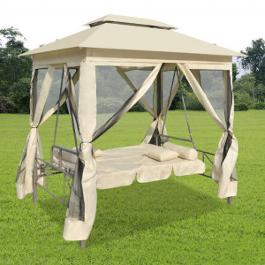 Balansoar extensibil cu pavilion, alb crem