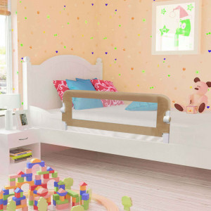 Balustradă protecție pat copii, gri taupe, 102x42 cm, poliester