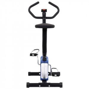 Bicicletă de fitness cu centură de rezistență, albastru