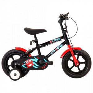 Bicicletă pentru copii, negru și roșu, 12 inci