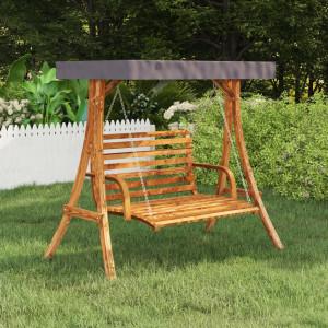 Cadru balansoar cu acoperiș antracit, lemn molid finisaj tec