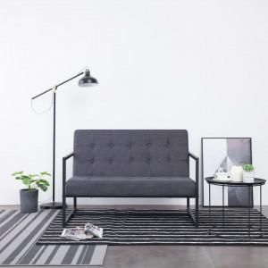 Canapea cu 2 locuri și brațe, gri închis, oțel și material textil