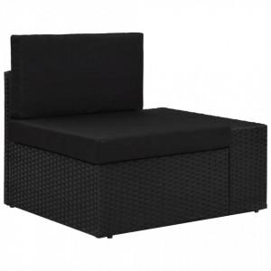 Canapea de colț modulară cu cotieră stânga, negru, poliratan