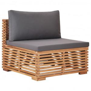 Canapea de grădină de mijloc cu perne gri, lemn masiv de tec
