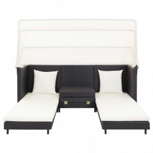 Canapea extensibilă cu 3 locuri, cu acoperiș, negru, poliratan