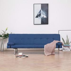 Canapea extensibilă cu două perne, albastru, poliester