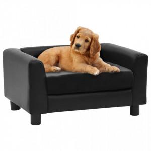 Canapea pentru câini, negru, 60x43x30 cm pluș & piele ecologică