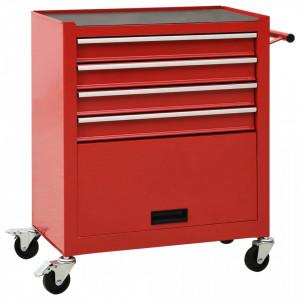 Cărucior de scule cu 4 sertare, roșu, oțel
