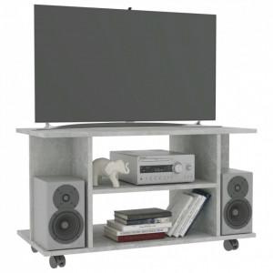 Comodă TV cu rotile, gri beton, 80 x 40 x 40 cm, PAL