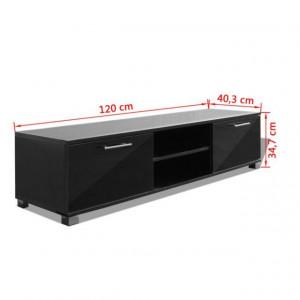Comodă TV lucioasă, 120 x 40,3 x 34,7 cm, alb