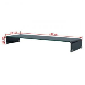 Comodă TV/Suport monitor, sticlă, 110 x 30 x 13 cm, negru