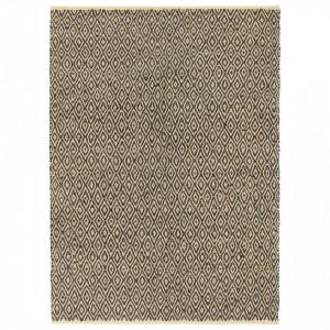 Covor Chindi țesut manual, negru, 160 x 230 cm, bumbac și piele