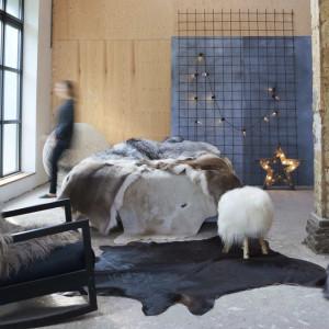 Covor din piele de vacă naturală, negru, 150 x 170 cm
