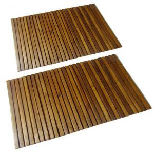Covor pentru baie din lemn de salcâm 80 x 50 cm, 2 buc.