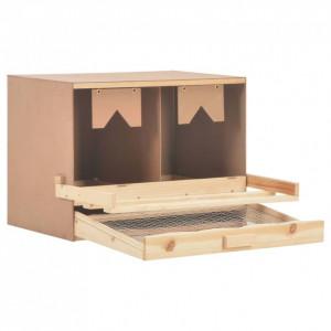 Cuibar găini cu 2 compartimente, 63x40x45 cm, lemn masiv pin