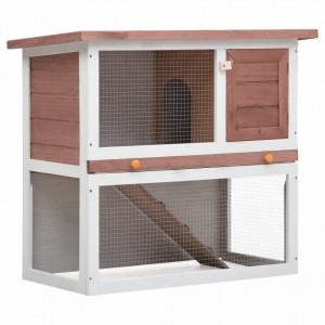 Cușcă de iepuri pentru exterior, 1 ușă, maro, lemn