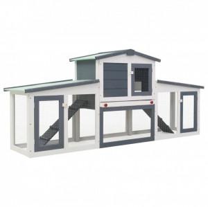 Cușcă exterior pentru iepuri mare, gri&alb, 204x45x85 cm, lemn
