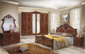 Dormitor Amalfi, Nuc, pat 160x200 cm , dulap cu 6 usi, comoda, 2 noptiere